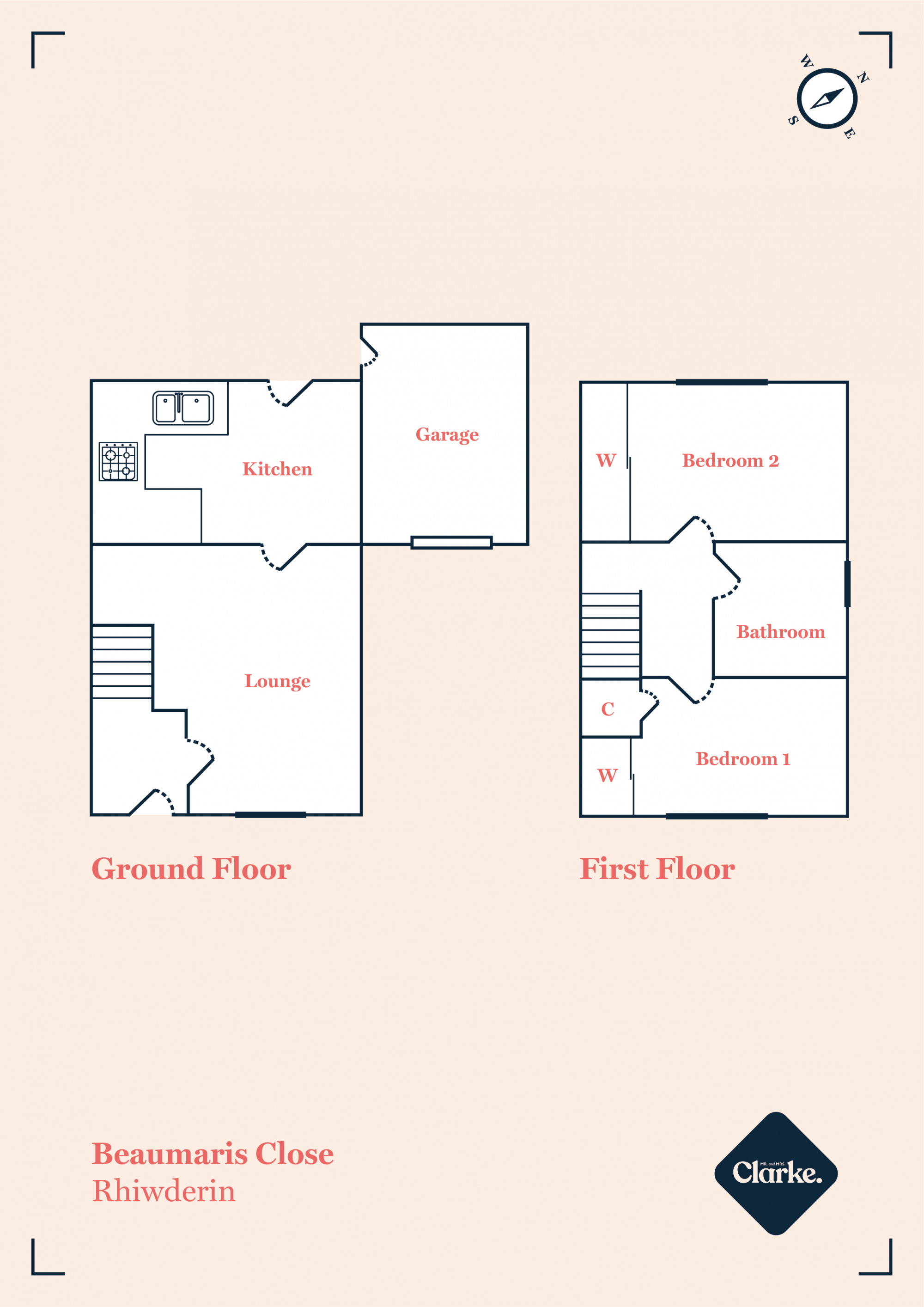 Beaumaris Close, Rhiwderin. Floorplan.