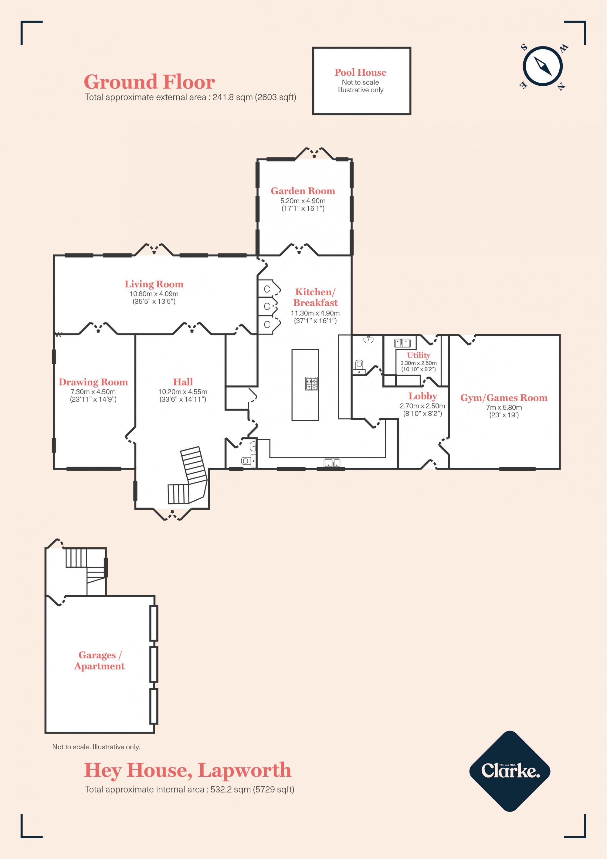 Hey House, Lapworth. Floorplan.
