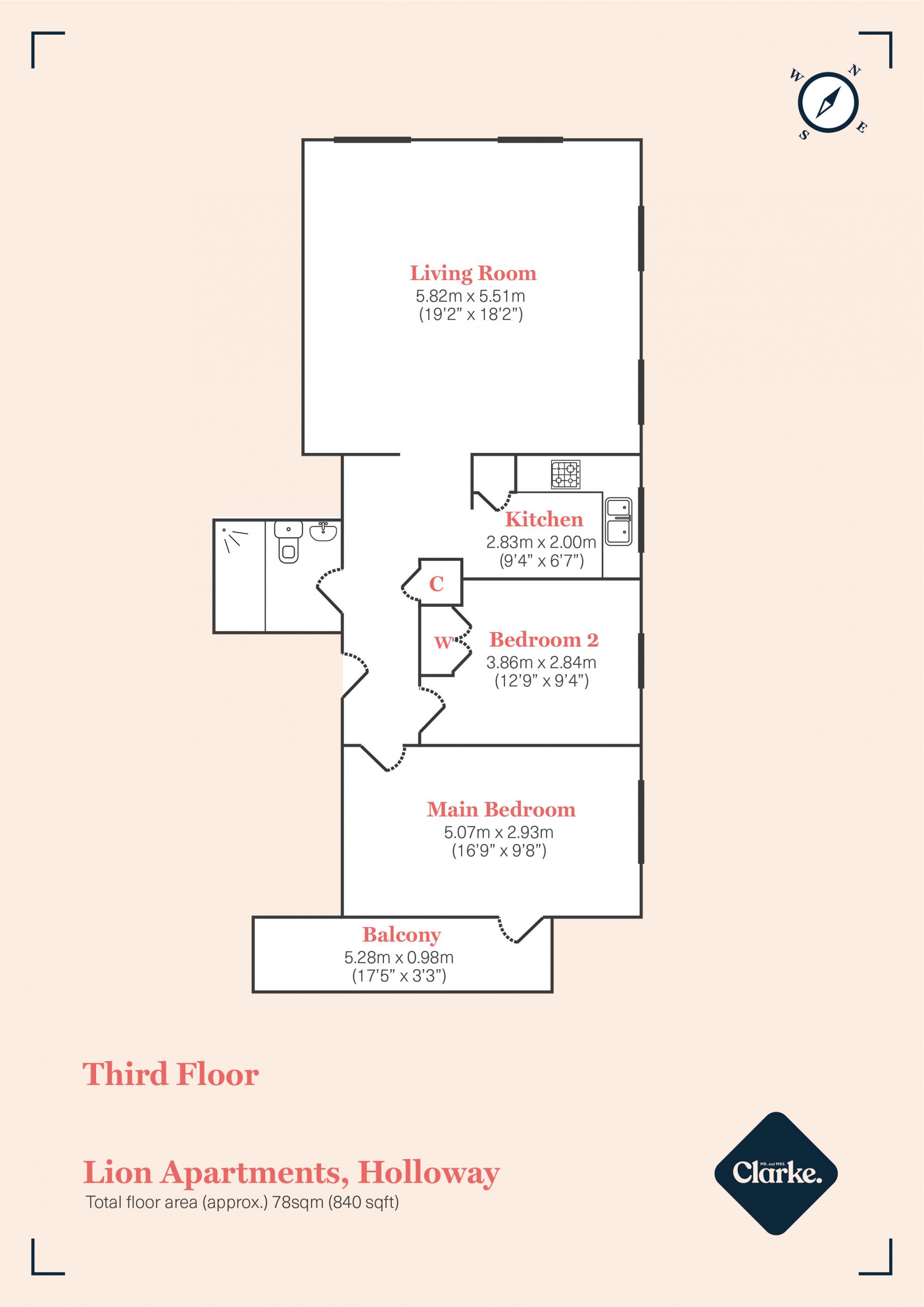 Lion Apartments, London. Floorplan.