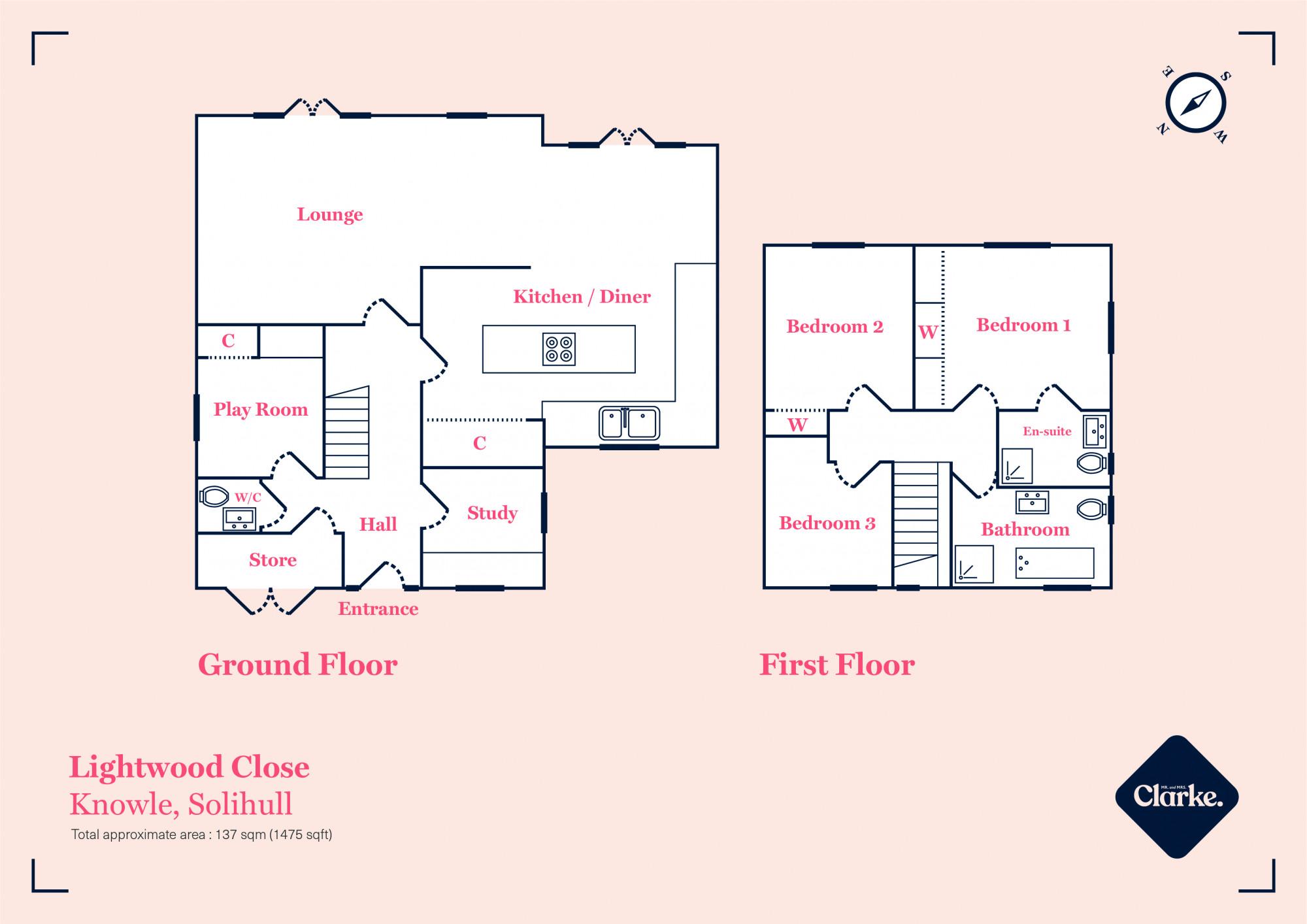 Lightwood Close, Knowle. Floorplan.