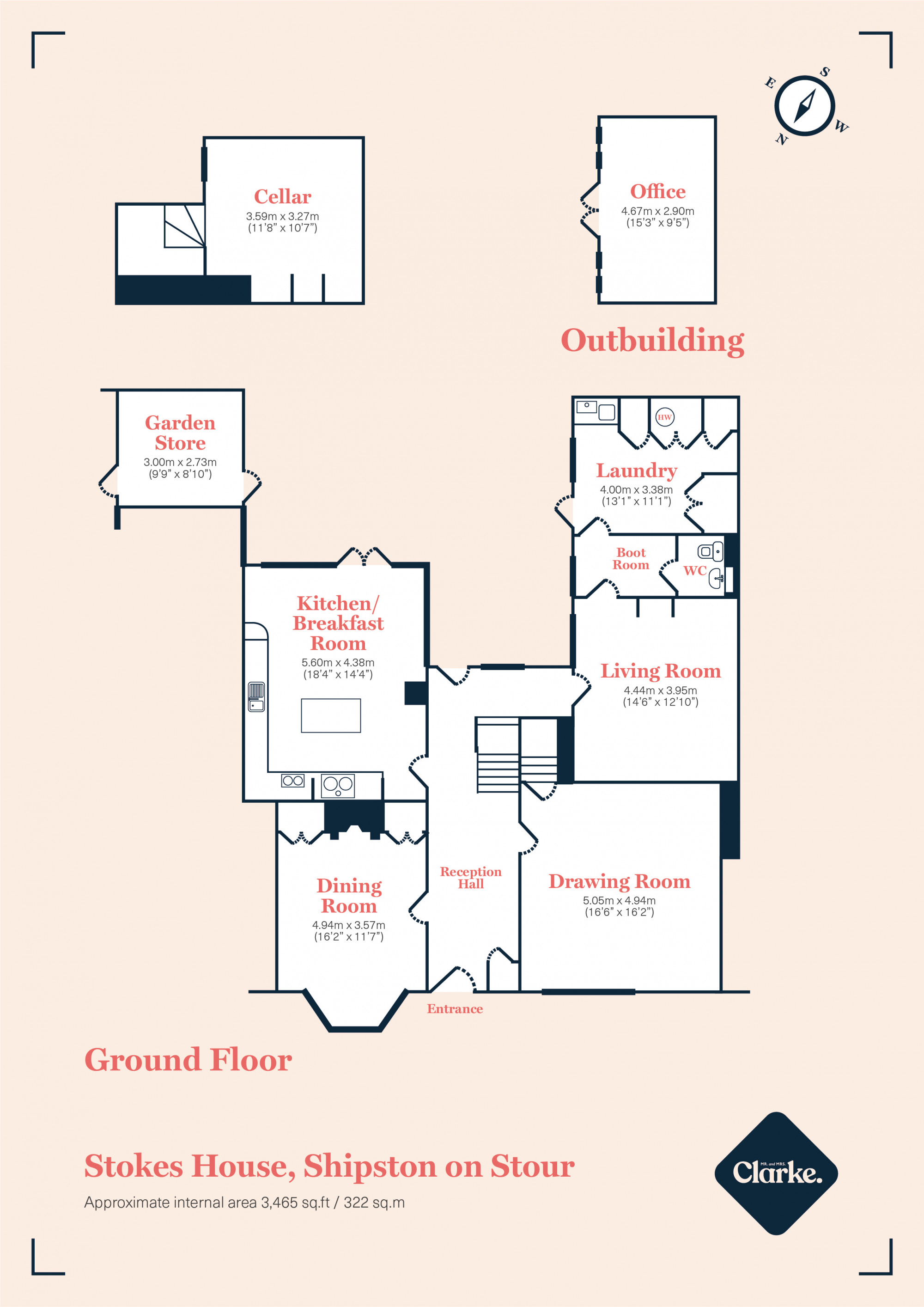 Stokes House, Shipston On Stour. Floorplan.