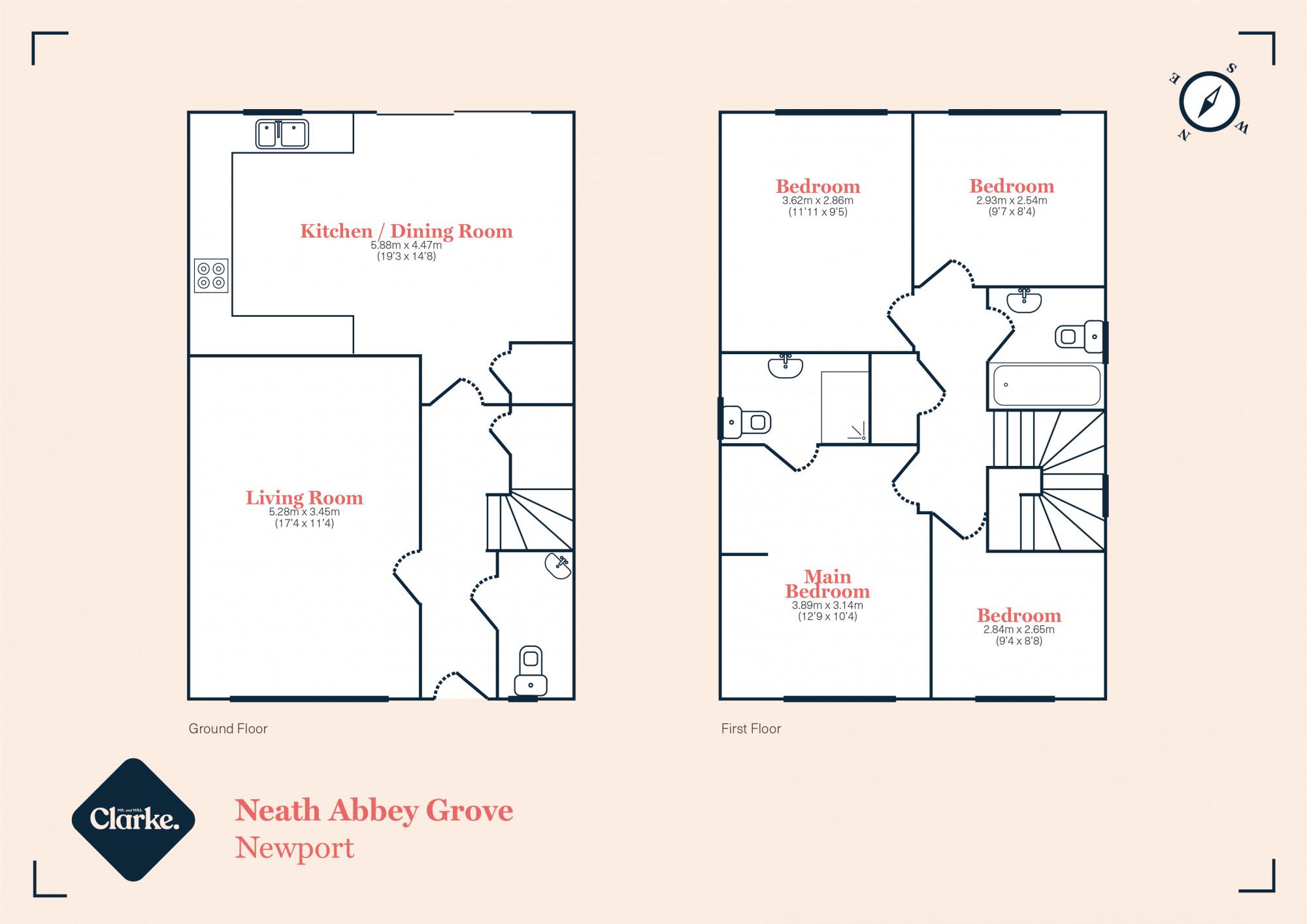 Neath Abbey Grove, Newport. Floorplan.