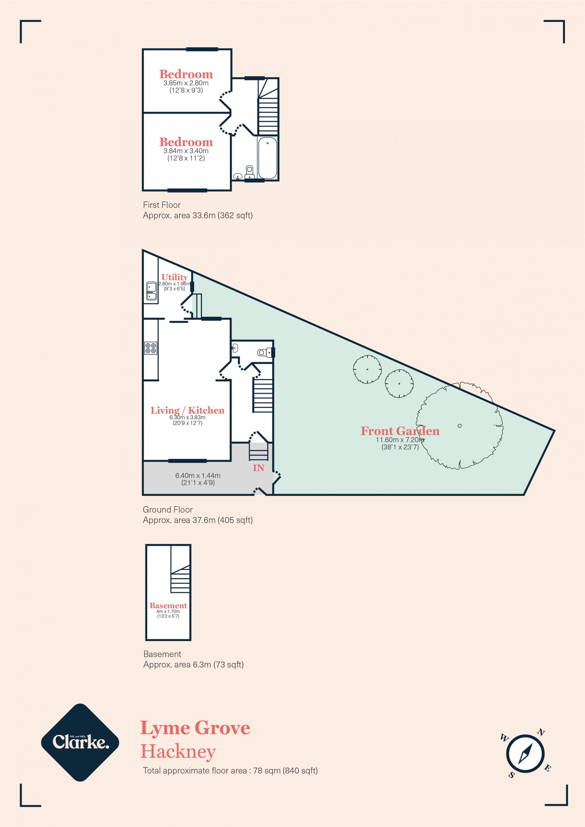 Lyme Grove, Hackney. Floorplan.