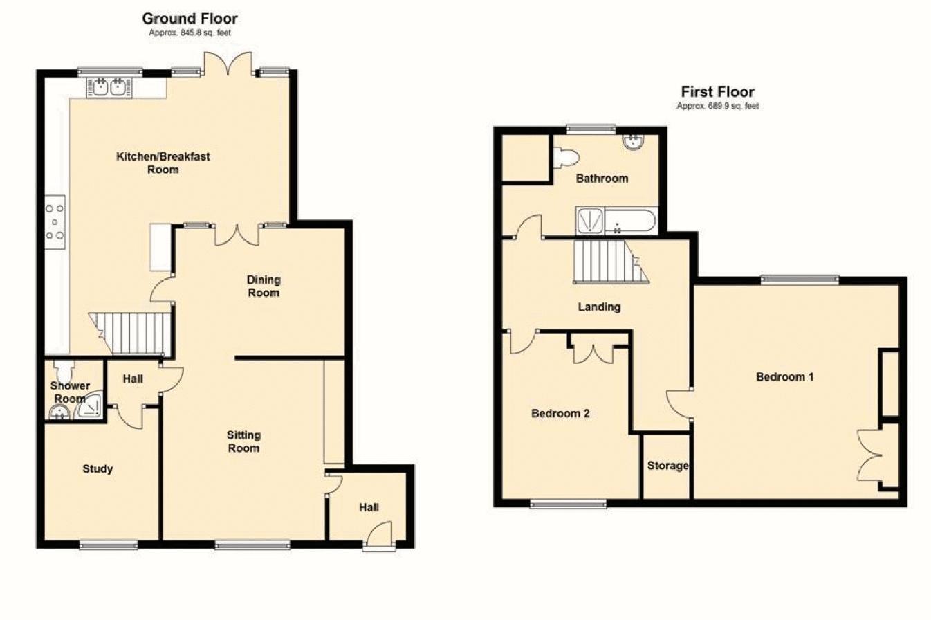 Abbots Retreat, Evesham. Floorplan.
