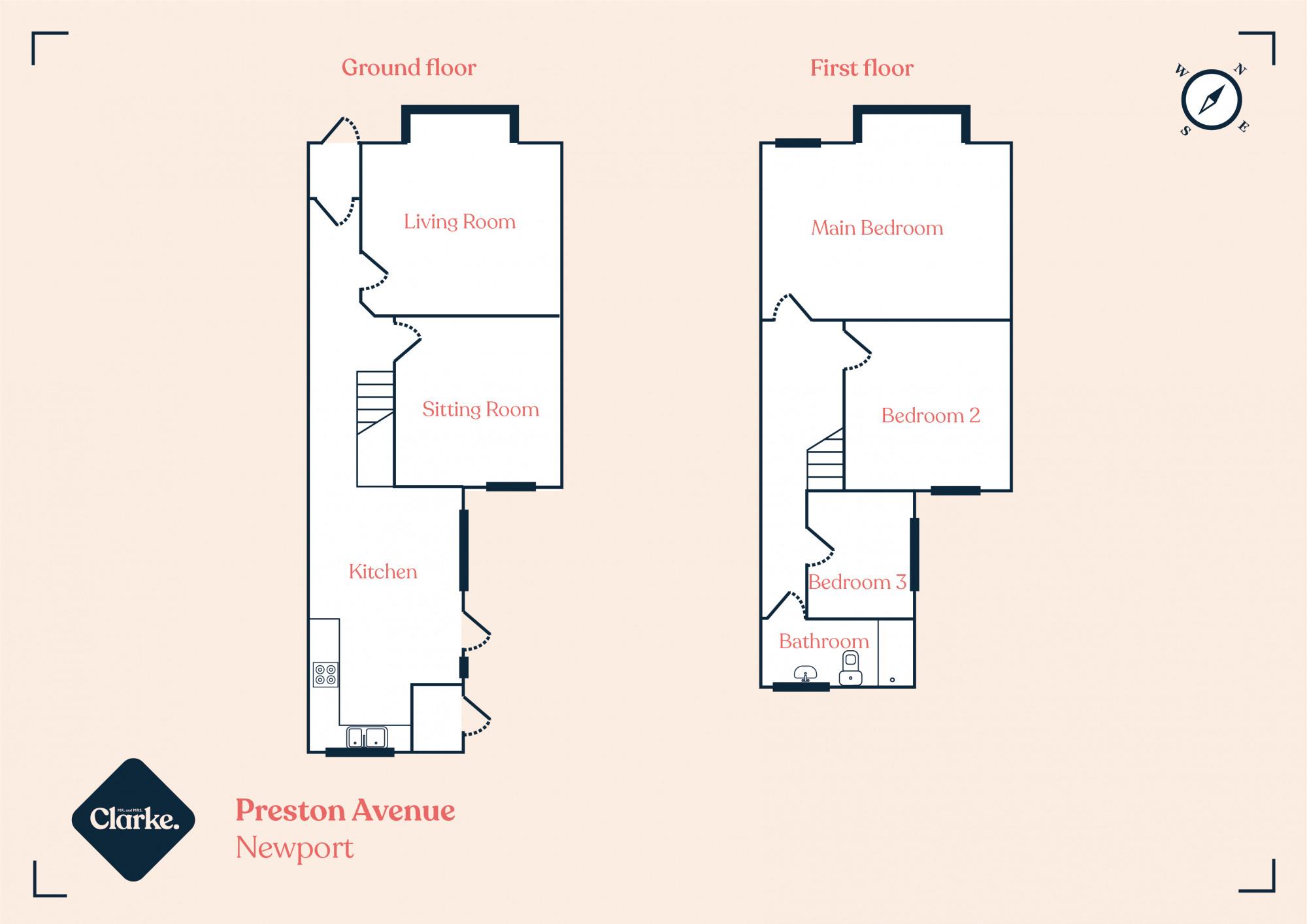 Preston Avenue, Newport. Floorplan.