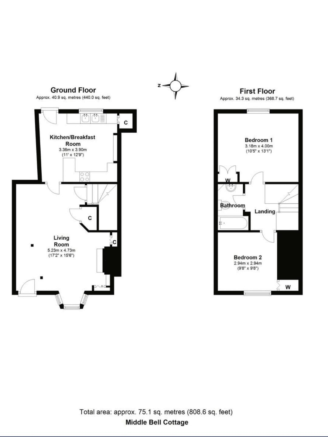 Middle Bell Cottage, Tanworth-in-Arden. Floorplan.