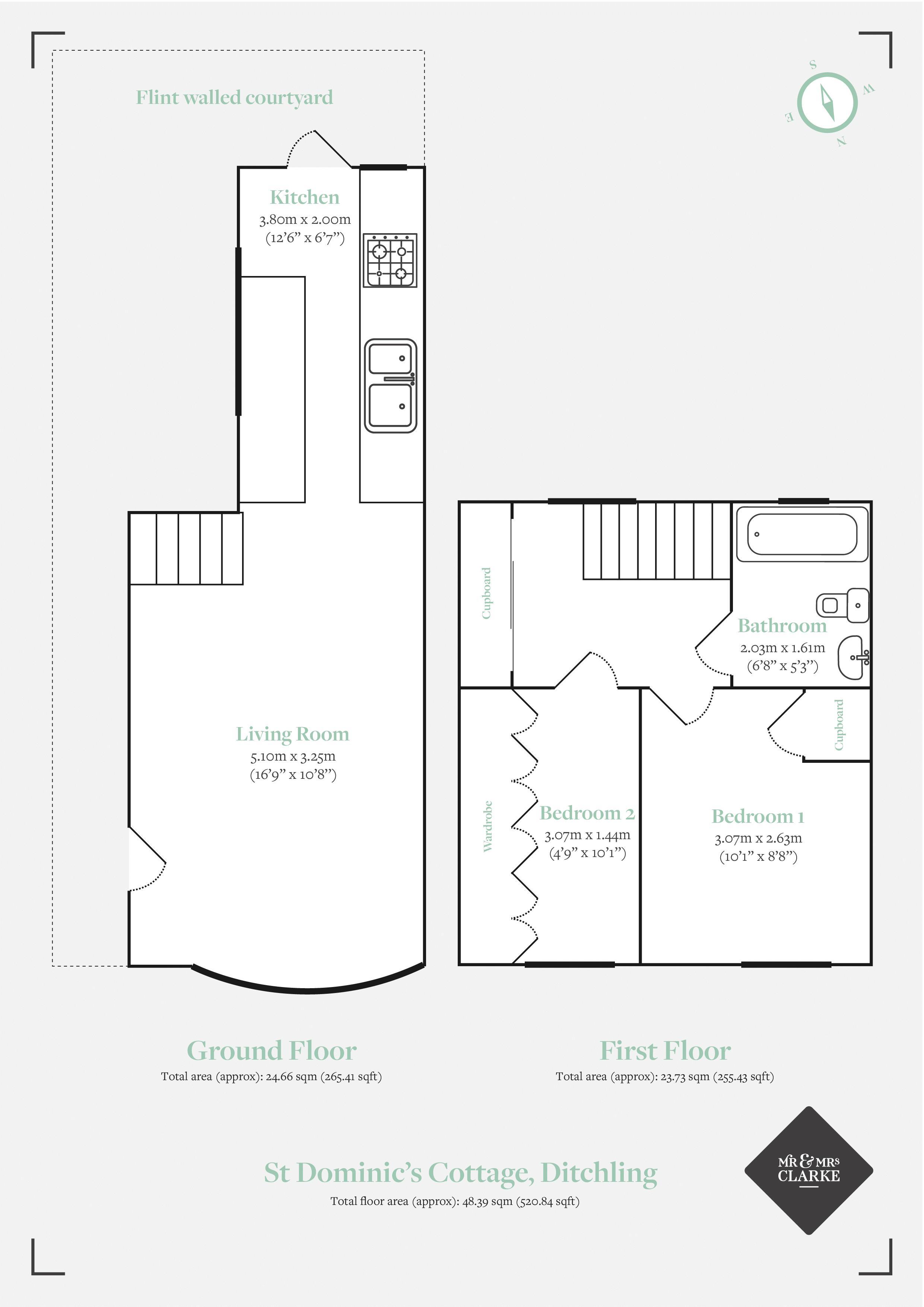 St Dominic's Cottage, Ditchling. Floorplan.