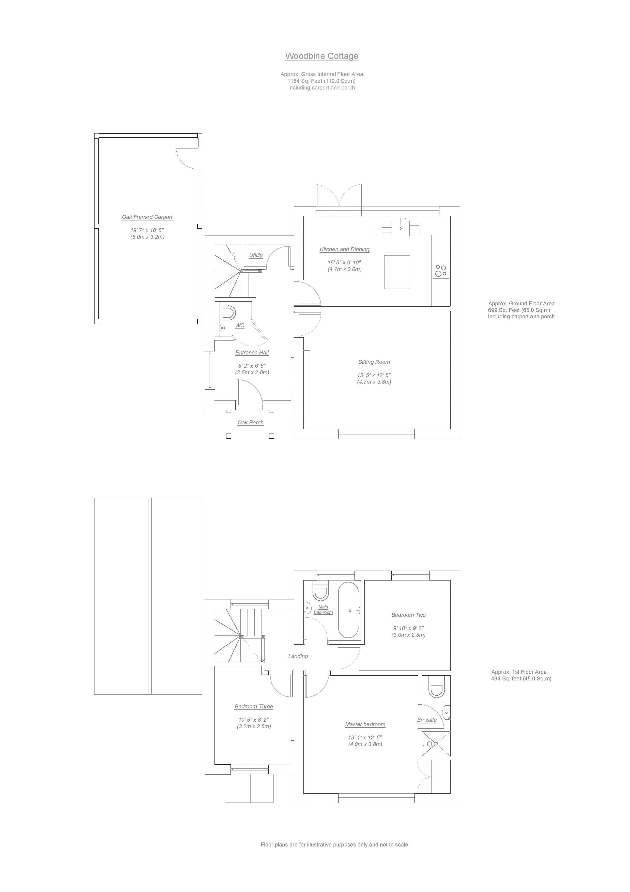 Woodbine Cottage, Little Shrewley. Floorplan.