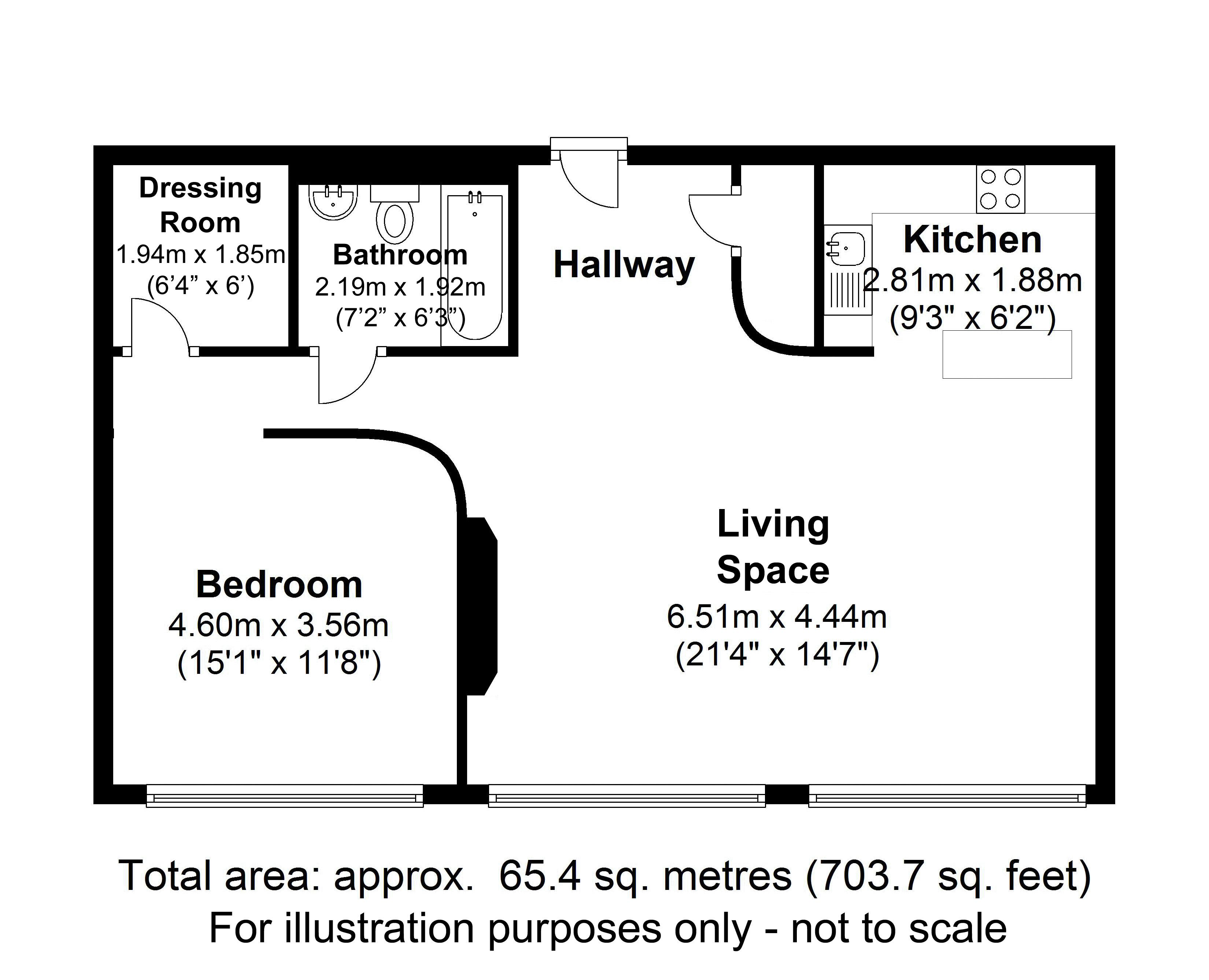 Apartment 1, New Hampton Lofts, 90, Birmingham. Floorplan.