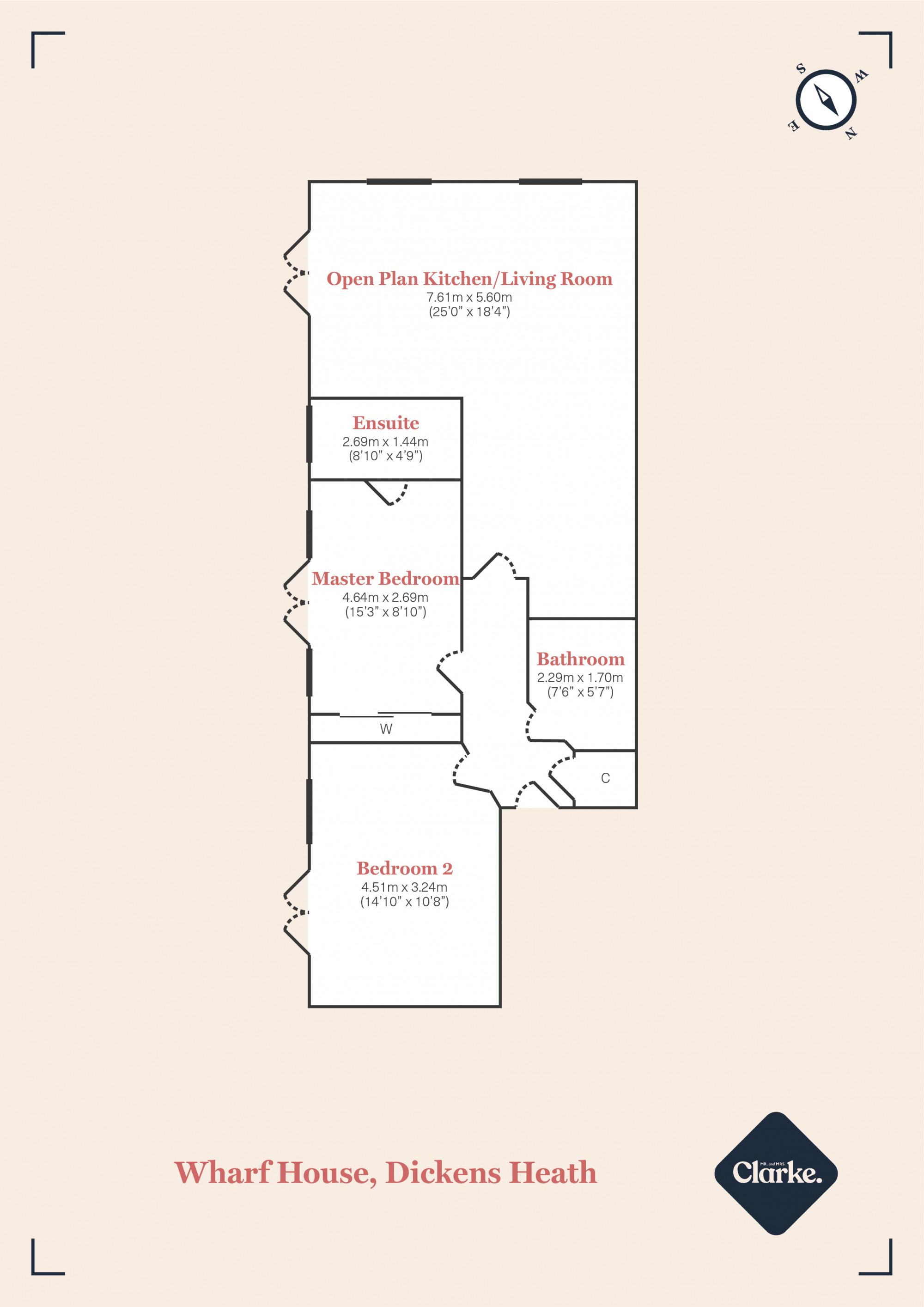 Wharf House, Dickens Heath. Floorplan.
