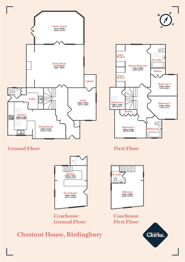 Chestnut House and Coach House, Birdingbury. Floorplan.
