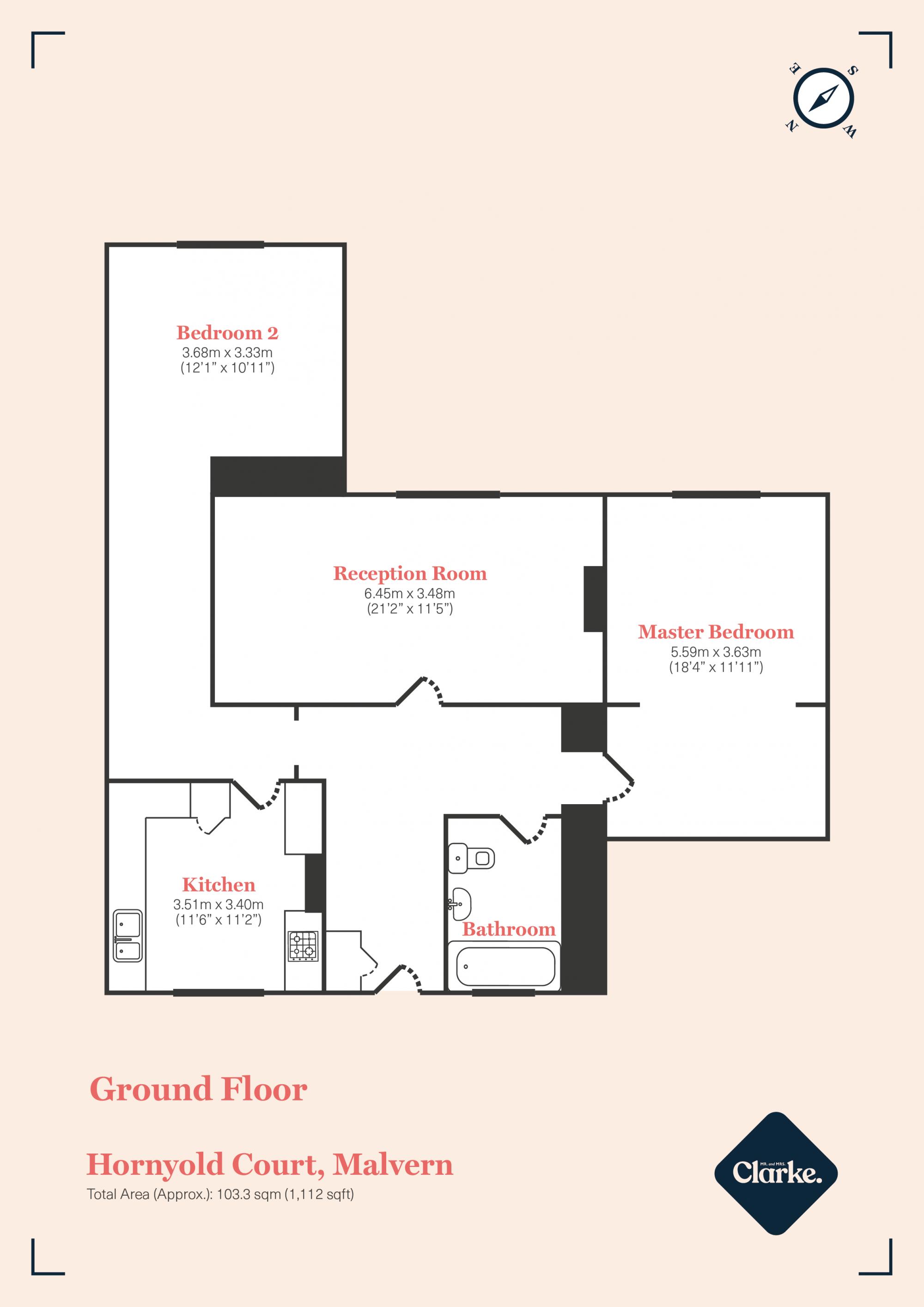 Hornyold Court, Malvern. Floorplan.