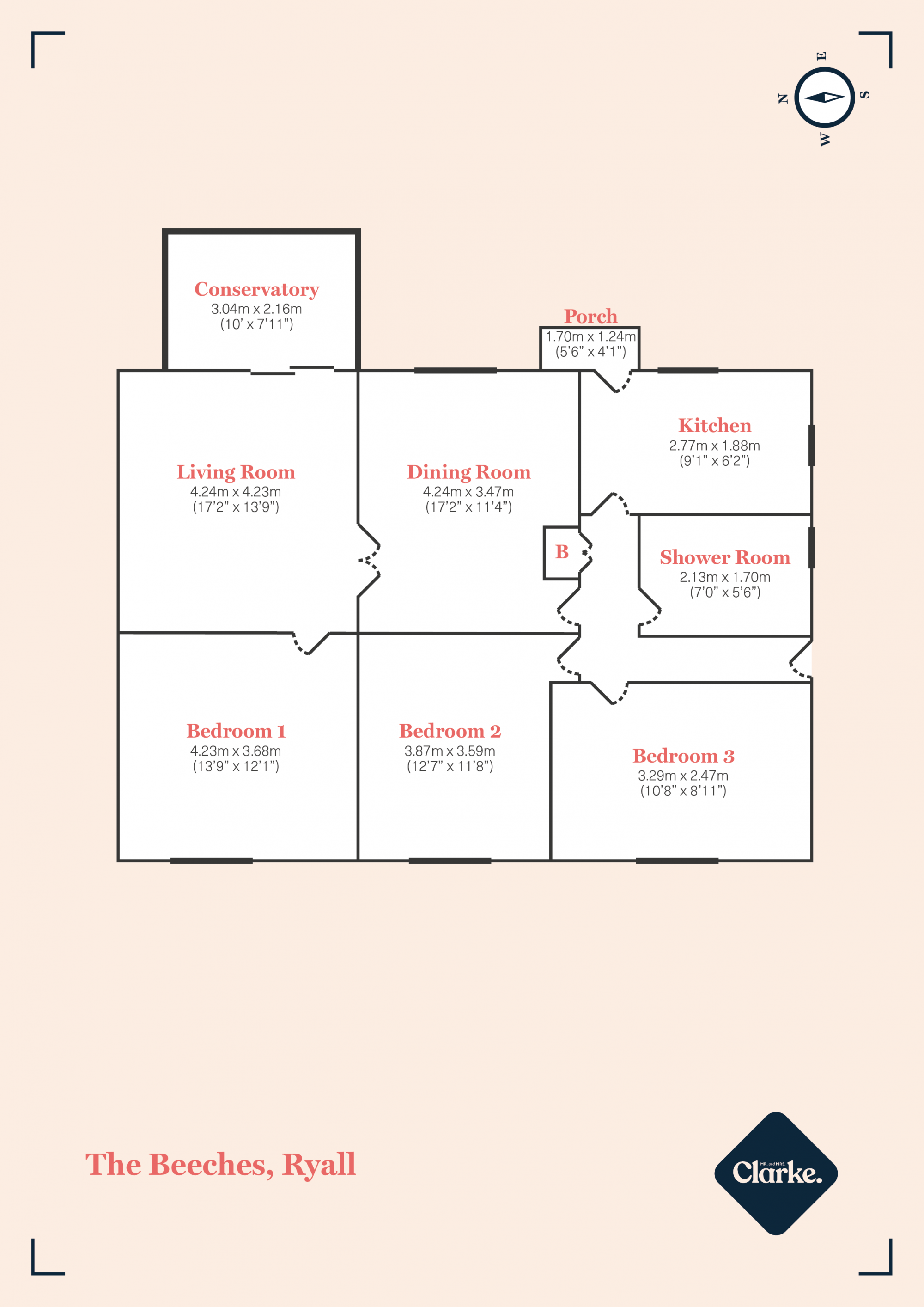The Beeches, Ryall. Floorplan.