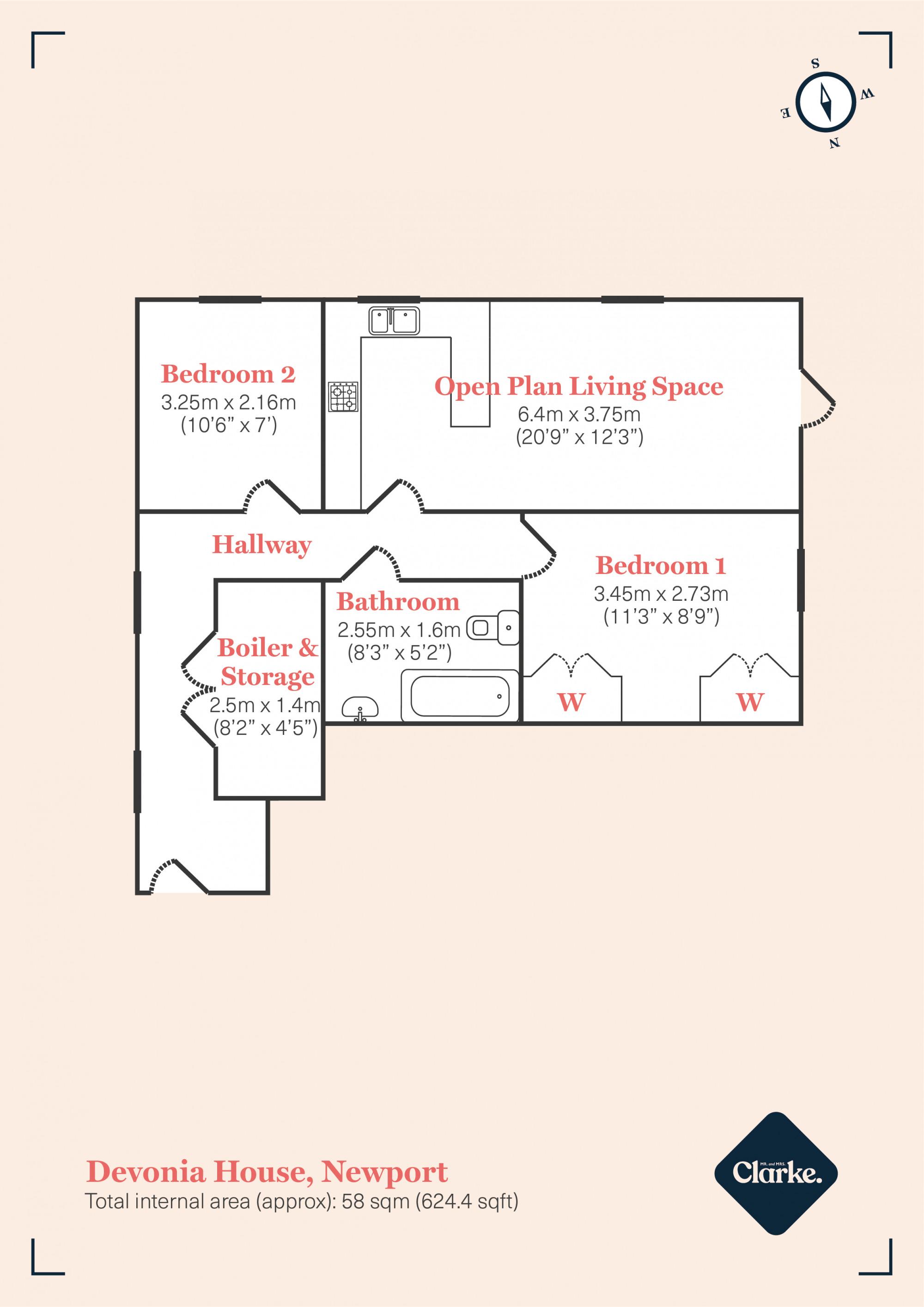 Devonia House, Newport. Floorplan.