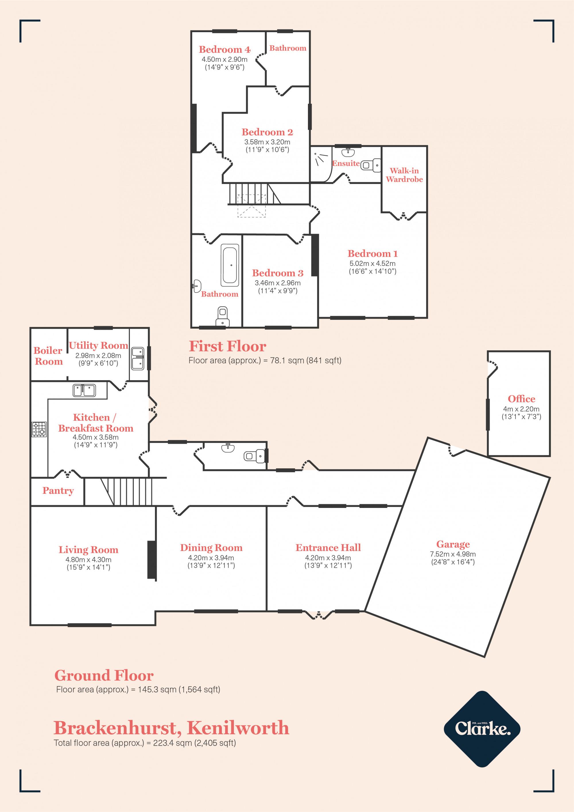Upper Ladyes Hill, Kenilworth. Floorplan.