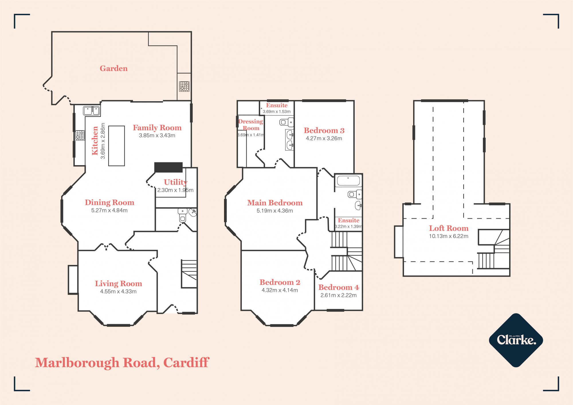 Marlborough Road, Cardiff. Floorplan.
